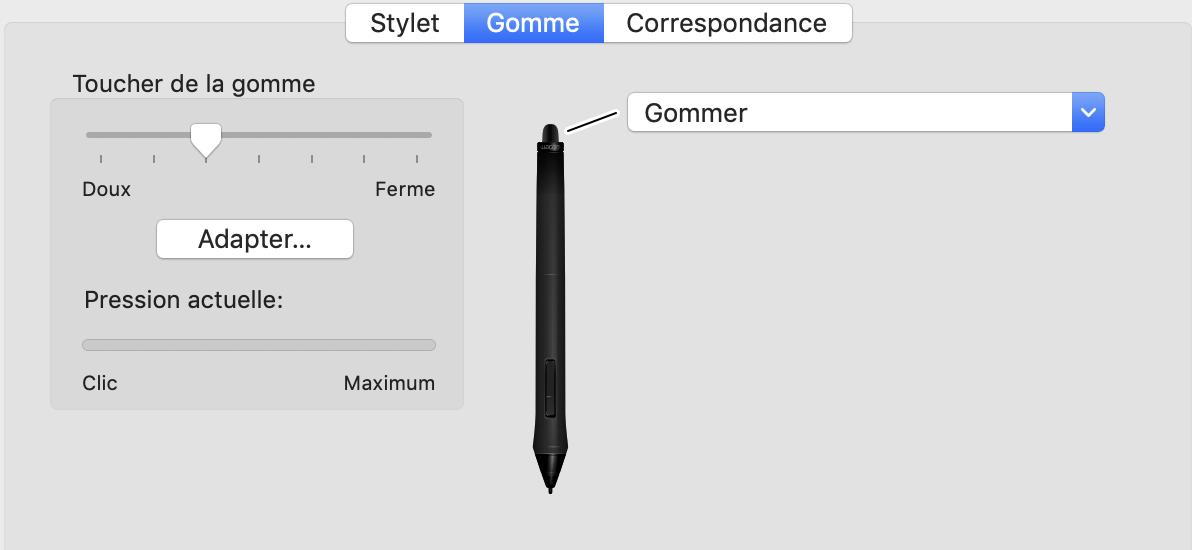 configuration de la gomme du stylet de la tablette graphique wacom