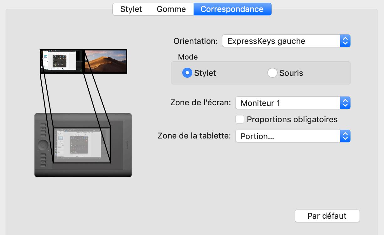 configuration de la correspondance d'écran de la tablette graphique wacom