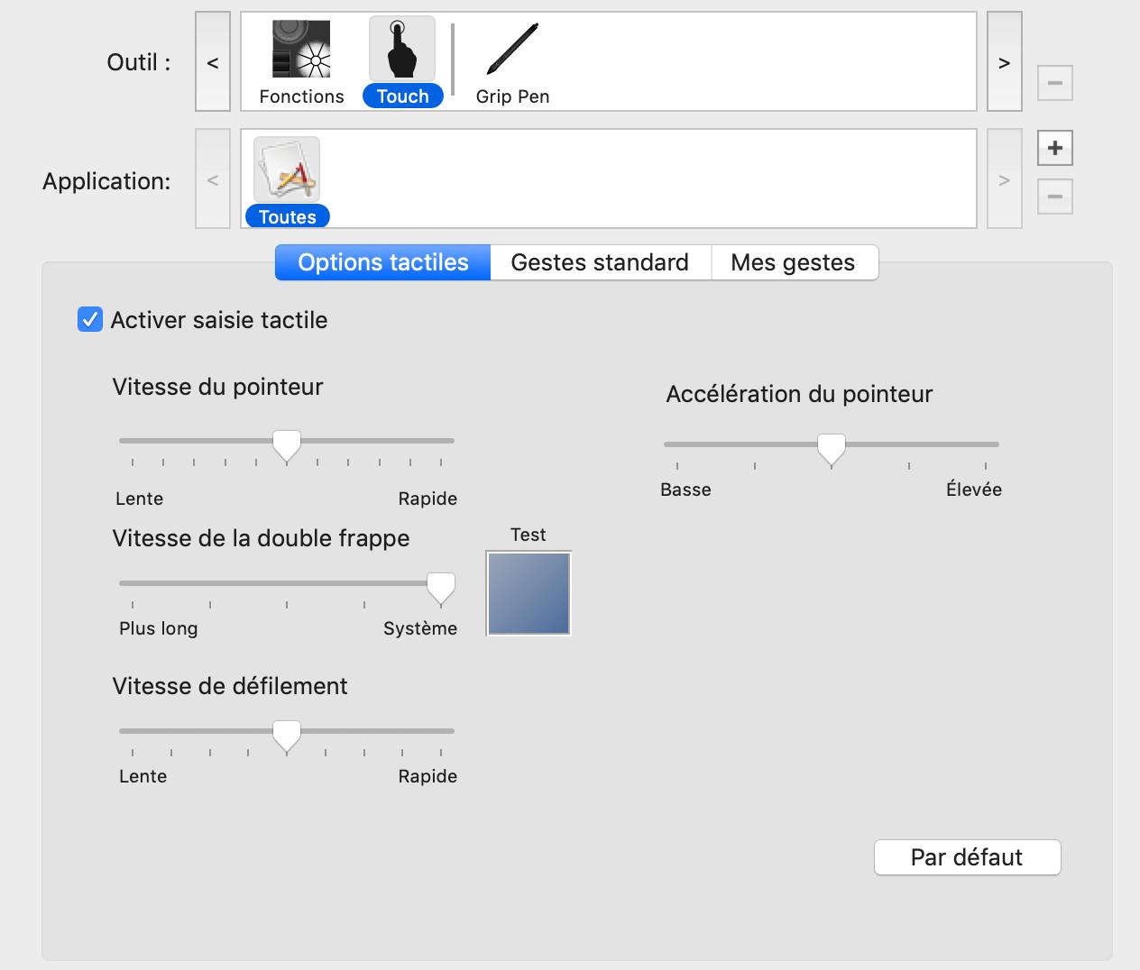 configuration des fonctions tactiles de la tablette graphique wacom