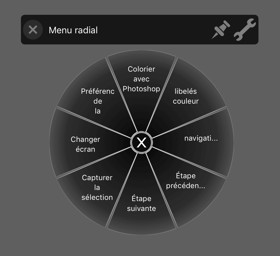 configuration du menu radial de la tablette graphique wacom