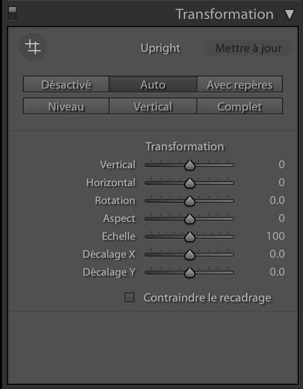 Module de transformation de Lightroom