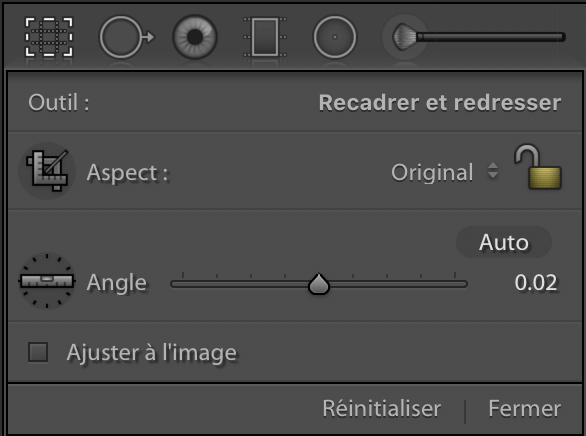 Outil de recadrage de Lightroom